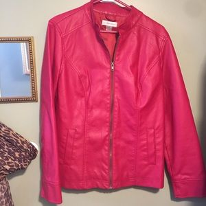 Christopher & Banks Faux Leather Red Jacket